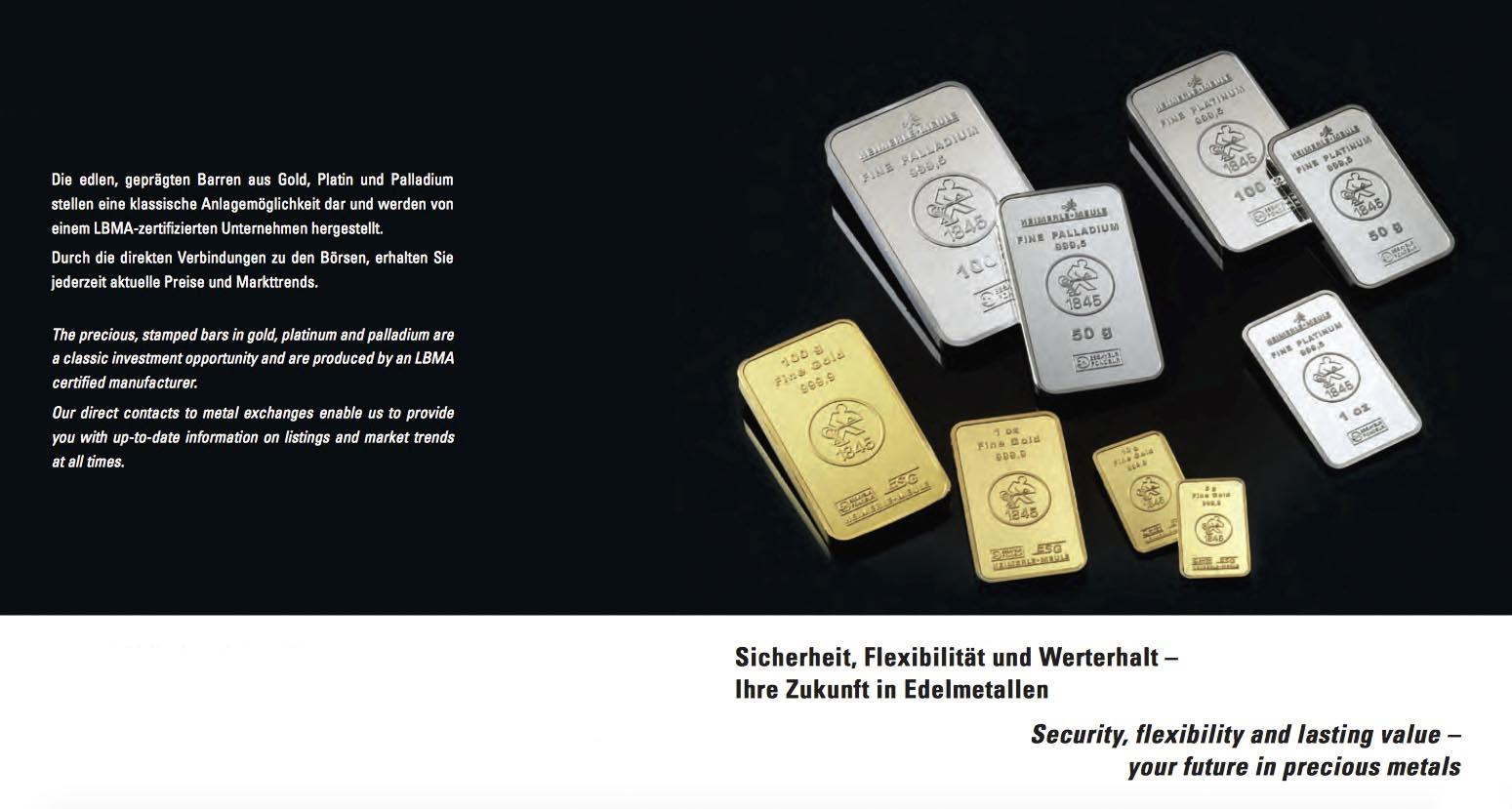 Anlagegold und Anlagesilber in verschiedenen Formen wie Barren und Münzen erhältlich